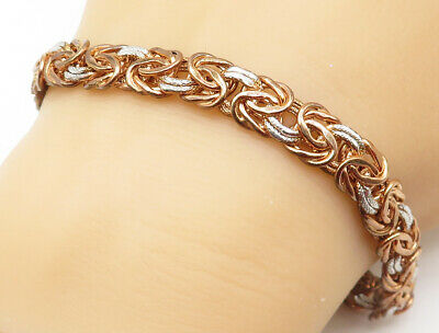 925 Silver - Rose Gold Plated Two Tone Byzantine Link Chain Bracelet - B4976