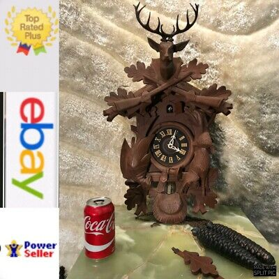 8 Day Large Vintage Germany Black Forest Striking Cuckoo Clock,2 Weight&Pendulum