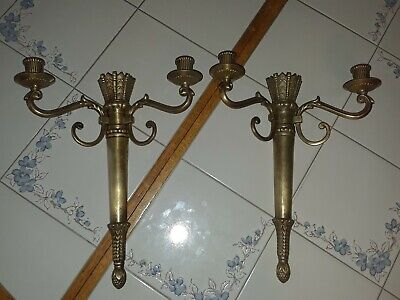 Pair of 2 Large Vintage Brass Two-Arm Wall Sconce, Ornate Candle Holders, Heavy