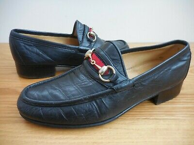 7069c3b55 Vintage~GUCCI~Navy Leather Horse Bit~Red/Blue Web Stripe Moccasin Loafers