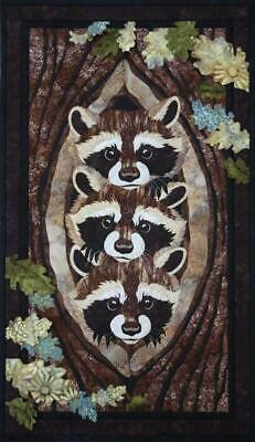 Who? What? Where? Raccoon Toni Whitney Fusible Applique Quilt Pattern + Fabric