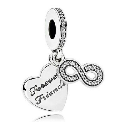 925 Sterling Silver Forever Friends Pendant Dangle Pendant Fit Charm Bracelet