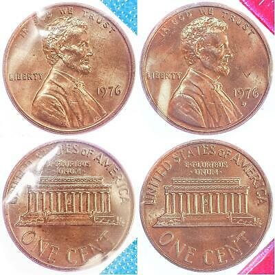 1976 P D Lincoln Memorial Cent BU US Mint Cello 2 Coin Penny Set