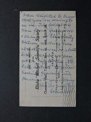 1910 Chapel Hill Nc Postal Card Letter Signed Collier Cobb University Professor!
