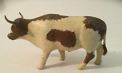 Antique Vintage Metal Still Bank Long Horn Bull in Paint
