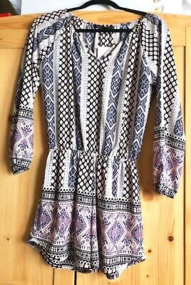 NWT Nordstrom Fraiche by J Pink abstract Crepe Long Sleeve Women 's Romper SZ S