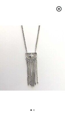 Vintage Silver crescent With chains Necklace