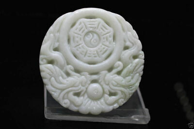 100% new China natural  hand carved Dragon  Lantian Jade Dragon Amulet pendant