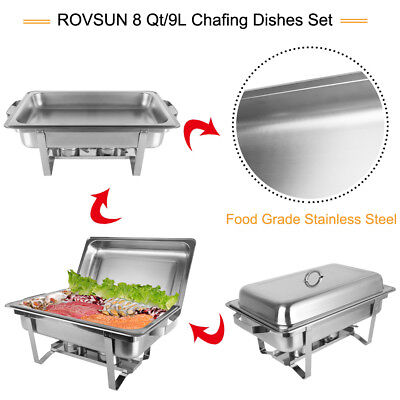 4 PACK CATERING CHAFER CHAFING DISH SETS 8QT 9L PACK PARTY BANQUET HOTEL Sliver