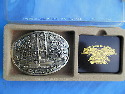 Vtg Award Design Medals Tulip Time Belt Buckle Solid Brass 1985 50th Anniversary