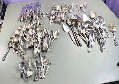 160 pcs Silverplate Mixed Lot Crafts Jewelry Art Deco Ornate Antique Vintage