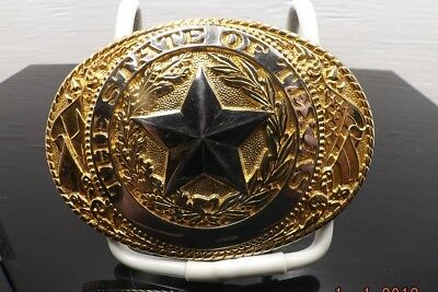 Tony Lama Great State Seal Of Texas Gold Plate Silver Plate New With New Box [B]
