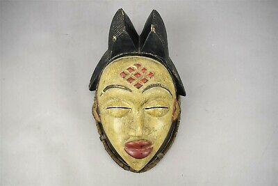 African Punu Tribal Art Mask Face Yellow Red Forehead Diamonds Wood Carved