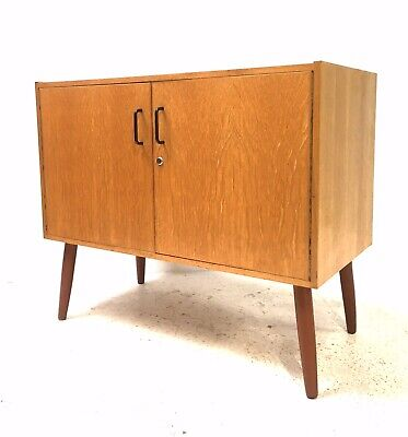 Vintage Retro Mid Century 1960s Blonde Oak Sideboard LP Vinyl Media Cabinet