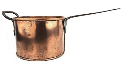 Antique Copper Saucepan Very Large Cast Iron Twin Handled