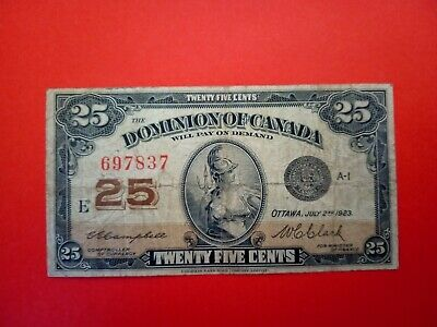 Banknote Canada 1923(VF) 25 cents.(fractional currency).