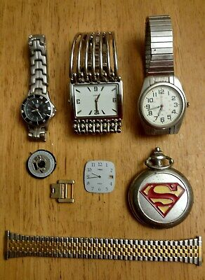 Vintage Misc. Lot of 8, Watches,& Band, Parts, Superman Stop Watch