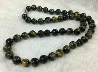 Natural 8mm Blue Yellow Tiger's Eye Gemstone Bead Round Necklace 18'' AAA