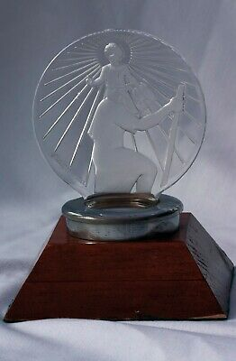 GENUINE FRENCH 1928 LALIQUE St CHRISTOPHER GLASS CAR MASCOT,HOODor DESK ORNAMENT
