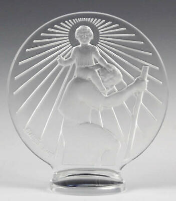FRENCH 1928 style LALIQUE St CHRISTOPHER GLASS CAR MASCOT, HOOD or DESK ORNAMENT