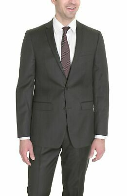 Mens 42S DKNY Mens Semi Solid Gray Pindot Two Button Wool Silk Blend Suit