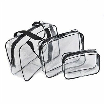 Hot 3pcs Clear Cosmetic Toiletry PVC Travel Wash Makeup Bag (Black) N6I8