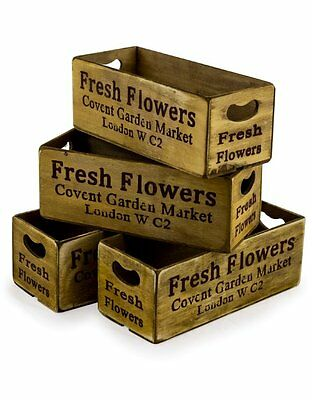 Single Brown Covent Garden Storage Container Condiment Wooden Box Wood Crate