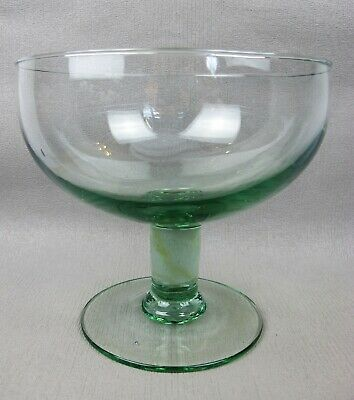 Good large vintage green recycled glass footed FRUIT BOWL. 19 cm x 20.5 cm