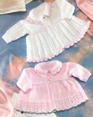 Vintage BABY Knitting Pattern copy Matinee Coats 8 Ply Premmie Size Included