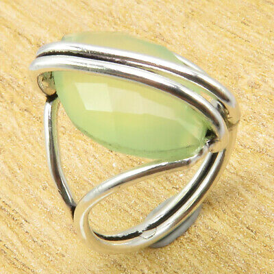 ANCIENT STYLE Ring Size 6 | Green Sea Chalcedony Silver Plated Metal Jewellery