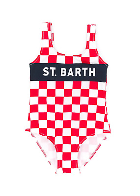 Costume MC2 Saint Barth bimba cara check rosso ss19