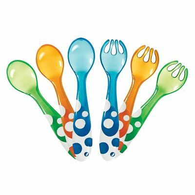 Munchkin 6 MULTI COLOURED FORKS & SPOONS Baby Toddler Bathing Bath Time Toy New