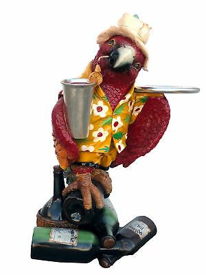 """36"""" Parrot Butler Statue With Tray Margaritaville Restaurant Kitchen Collectible"""