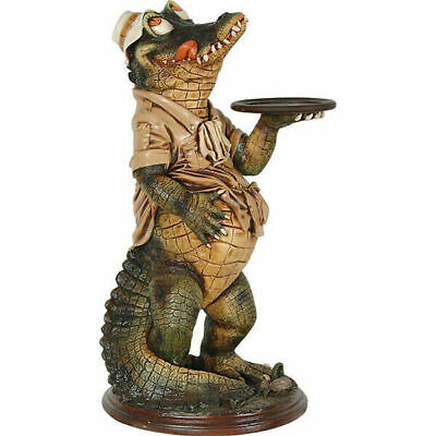 """39"""" Crocodile Butler Statue With Tray Restaurant Kitchen Decor Collectible"""