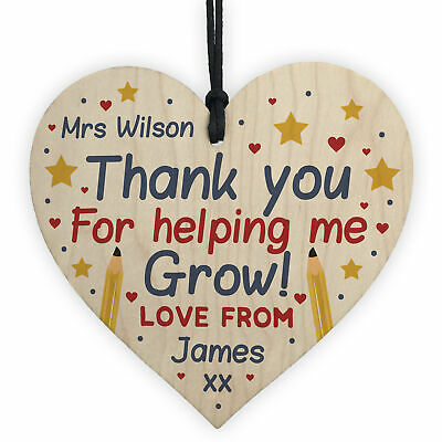 Personalised Thank You Teacher And Assistant Gift Wood Heart Leaving School Gift