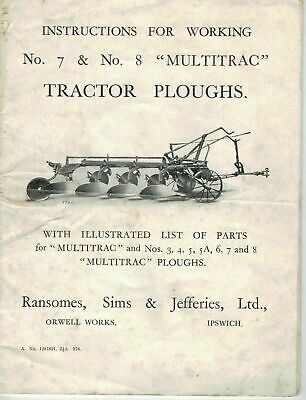 Ransomes No 7 & 8 Multitrac Tractor Ploughs Instructions & Parts List  5365F