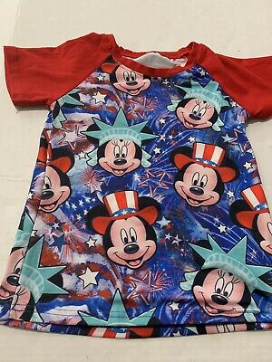Disney Sz 5/6 Mickey & Minnie Mouse US Shirt Top Youth Boys July 4th EUC Wore 1