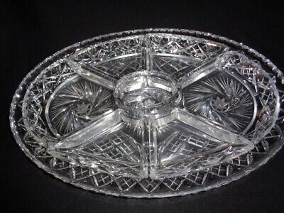 Rare Hors D'oeuvres Platter & Dishes-Hand Cut Crystal