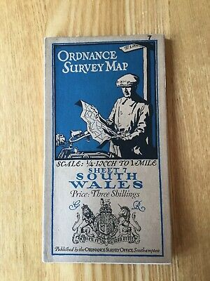 1920 Ordnance Survey Third Edition Quarter Inch Cloth Map Sheet 7 South Wales