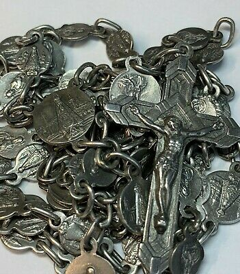"† Scarce Antique Sterling Images Scapular Medals Rosary Necklace 31"" 30 Grms †"