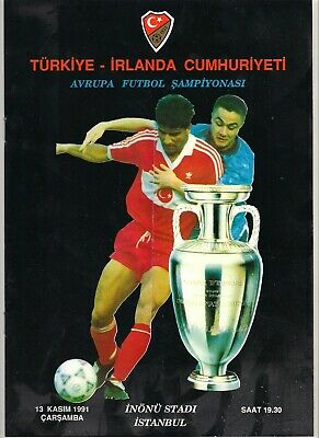 Turkey v Republic of Ireland Eire programme 1991 UEFA  Besiktas Euros Turkiye