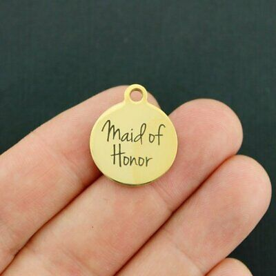 Maid of Honor Gold Stainless Steel Charm Quantity Options - BFS1632GOLD