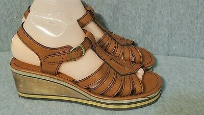 Rare Vintage Fruit Of The Loom Wedge Sandals Women's Size 8 Shoes Brown Man Made