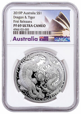 2019 Australia 1 oz Silver Tiger & Dragon Proof $1 NGC PF69 UC FR Opera SKU58149