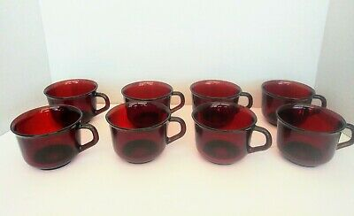 Arcoroc France 8 Ruby Red Glass Teacup Mugs Cups Vintage