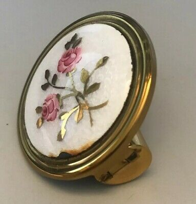 Vintage Enameled Pink Roses Floral Lipstick Holder With Mirror, Gold Toned