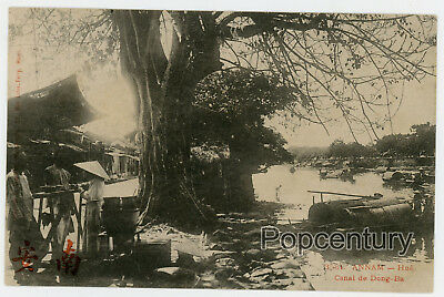 China French Indochina Postcard 1910s Vietnam Annam River Canal Dang-Ba Asia