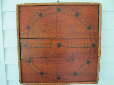 Antique Primitive Double Sided Folk Art Parcheesi Wood Gameboard Aafa