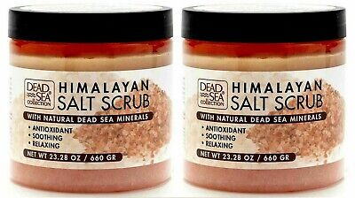 2 x DEAD SEA COLLECTION HIMALAYAN BATH BODY SALT SCRUB MINERAL RICH 660g