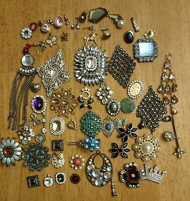Vintage Misc. Lot of 56 Jewelry Broaches, Pins, Pendants, Earrings, Craft, Art